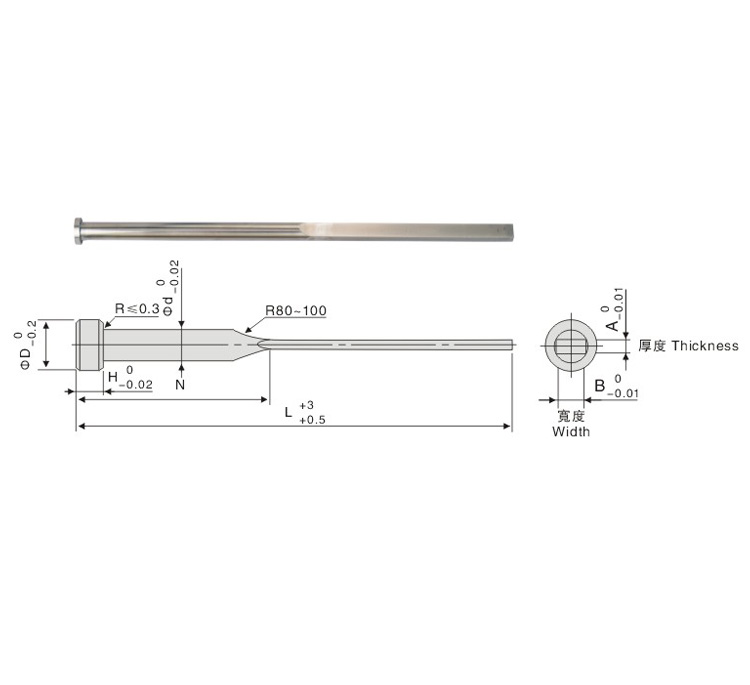 SKD-61 Rectangular Ejector Pin-Ejector Blade